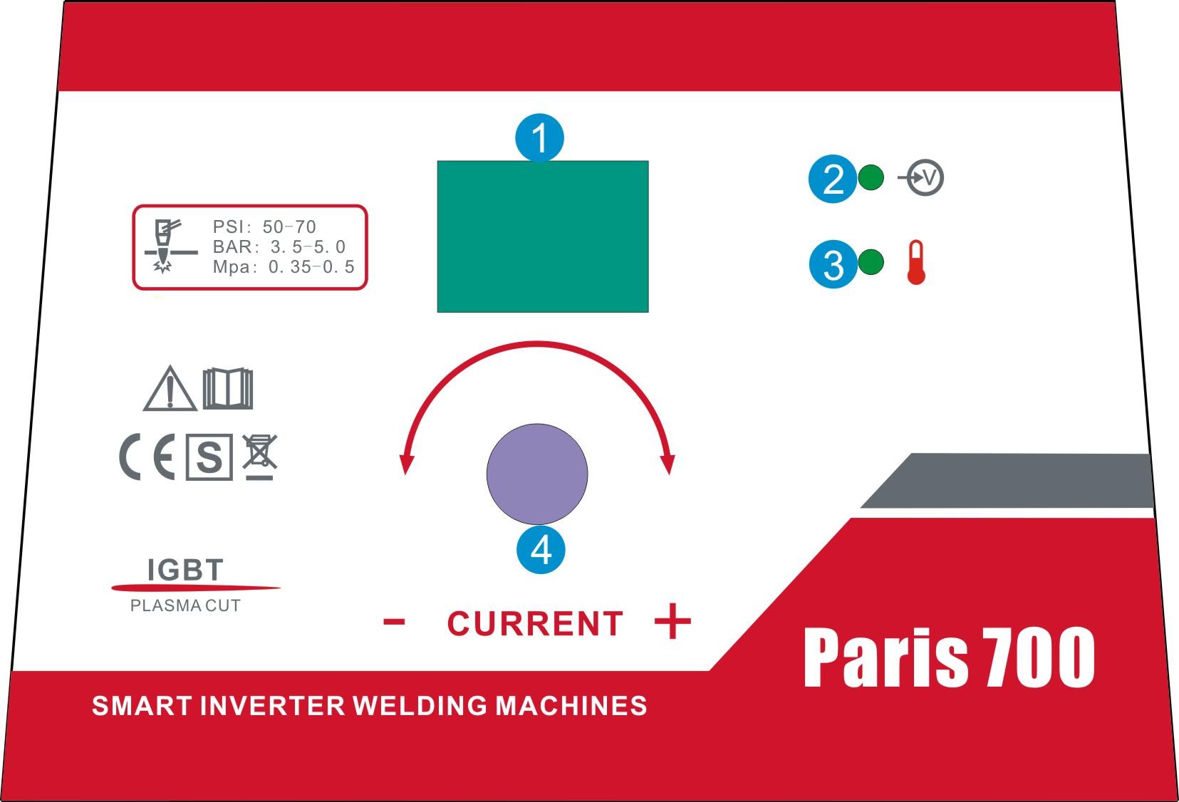 Paris 700 Cortadora de plasma profesional 70A, IGBT, HF, 20 mm